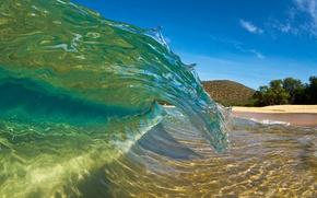Картинка пляж, волна, водоворот, гавайи