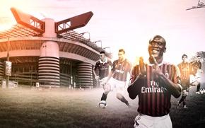 Картинка wallpaper, sport, stadium, football, San Siro, Kaka, Stephan El Shaarawy, Andriy Shevchenko, AC Milan, players, …