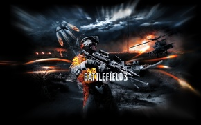Картинка ночь, война, солдат, вертолет, танк, Battlefield 3