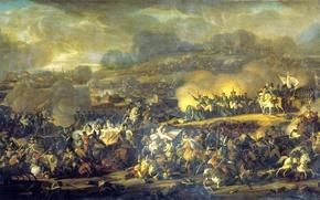 Картинка война, конница, солдаты, сражение под Лейпцигом, 6 октября 1813 года, битва, дым, русские, французы, пушки