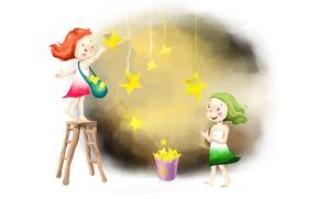 Картинка свет, радость, девочки, рисунок, позитив, звёзды, сумка