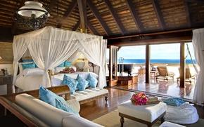 Обои стиль, море, спальня, Интерьер, кровать, отель
