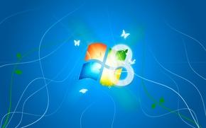 Картинка логотип, Microsoft, синий фон, WIndows 8