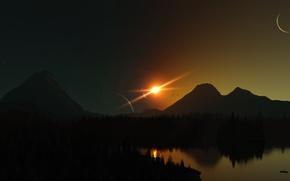 Картинка солнце, лучи, свет, пейзаж, природа, озеро, отражение, рендеринг, планеты