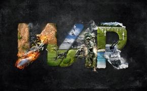 Обои оружие, война, солдаты, трава, огонь.КРЕСТЫ, war, самолеты