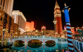 Обои Лас-Вегас, канал, мост, казино Венеция, небо, США