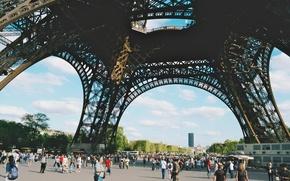 Обои народ, франция, туристы, paris, эйфелева башня, париж, люди