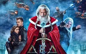 Картинка снег, фильм, коллаж, меч, фэнтези, шуба, борода, Дед Мороз, красная, метель, постер, чудовища, маги, Фёдор ...