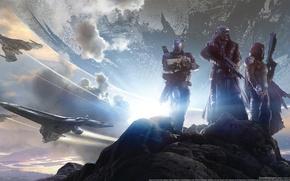 Обои горы, тучи, камни, оружие, планета, броня, воины, GameWallpapers, Bungie, бойцы, космические корабли, шлемы, Activision, Destiny