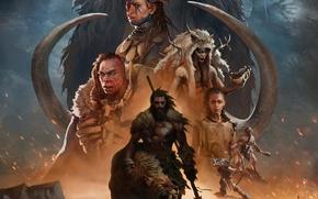 Картинка взгляд, рисунок, лук, тату, кости, мех, мужчина, копье, зверь, стрелы, шрам, мамонт, бивни, Far Cry …