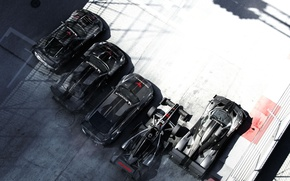 Картинка Солнце, Дорога, Спорт, Тень, Машины, Трасса, Суперкар, Grid, Автомобили, Спорткар, Codemasters, Ограждения, Audi RS5, Pagani …