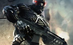 Обои оружие, нано, человек, мощь, Crysis, костюм