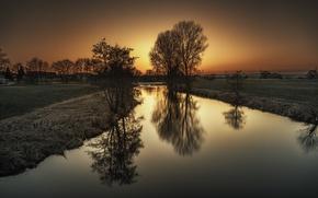 Картинка поле, деревья, закат, Осень, канал, trees, sunset, water, autumn, fall