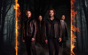Картинка fire, flame, forest, devil, Supernatural, Jensen Ackles, man, limbo, angel, good, bad, brothers, Dean Winchester, ...
