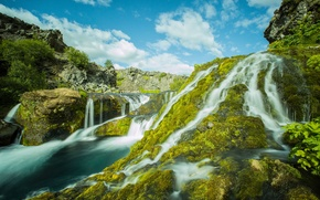Картинка река, камни, мох, водопады, каскад, Исландия, Iceland, Gjáin