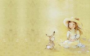 Картинка лето, улыбка, арт, девочка, зайчик, детская, . Екатерина Бабок