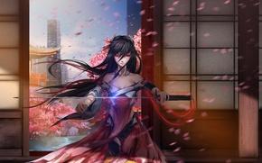 Обои арт, mikazuki industry, девушка, оружие, катана