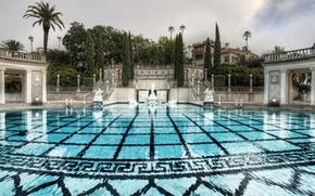 Обои пальмы, лестница, статуи, день, вода, кипарисы, плитка, узор, бассейн