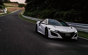 Обои хонда, supercar, Honda, автомобиль, суперкар, white, передок, road, NSX
