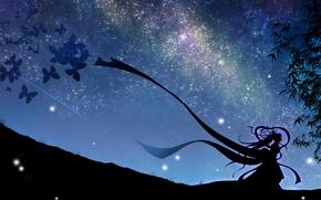 Картинка небо, девушка, звезды, бабочки, ночь, арт, vocaloid, hatsune miku, вокалоид, mokoppe