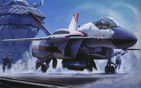 Картинка самолет, ракета, авианосец, кабина, палуба, пилоты
