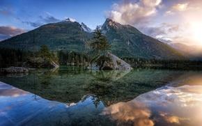 Картинка прозрачность, отражения, деревья, горы, природа, озеро, камни