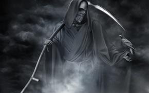 Картинка Смерть, черно-белое, ворон