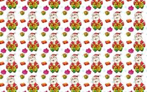 Обои Дед Мороз, подарок, текстура, праздник, Новый год