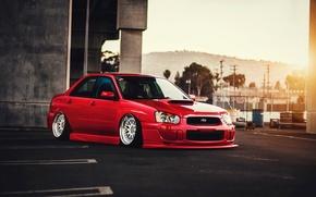 Обои Subaru, Impreza, WRX, Red, Car, STI, Front, Sun, Color, Stance, Low