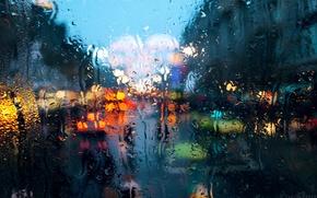 Обои макро, дождь, город