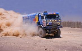 Картинка Пыль, Спорт, Грузовик, KAMAZ, Rally, КАМАЗ, Dakar, Первый, Соревнования