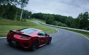 Обои дорога, машина, деревья, поворот, Honda, supercar, road, trees, NSX
