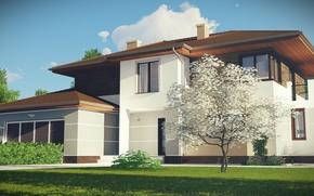 Картинка небо, деревья, дом, коттедж, фасад