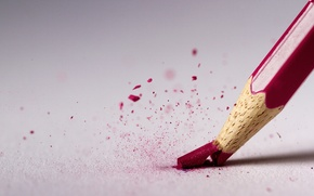 Картинка макро, красный, карандаш, стержень, сломался