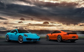 Картинка 911, Porsche, Orange, Blue, Front, Carrera, Supercars, Rear, 2017