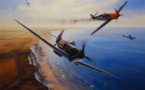 Картинка aircraft, war, art, airplane, painting, aviation, drawing, ww2, dogfight, battle of britain, supermarine spifire, messerschmitt …