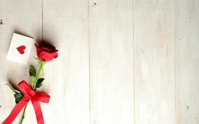 Картинка сердечко, лента, открытка, праздник, цветок, роза, День Святого Валентина, бантик