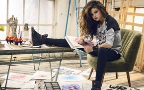 Картинка стол, модель, рисунок, кресло, актриса, певица, Marie, selena gomez