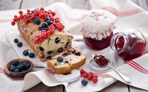 Картинка ягоды, натюрморт, джем, кекс, голубика, красная смородина