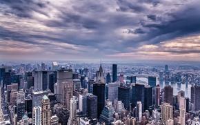 Картинка Manhattan, небоскребы, NYC, высотные, Эмпайр-стейт-билдинг, город, Empire State Building, вечер, здания, New York, тучи, New ...