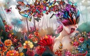 Обои цветы, девушка, бабочки, арт, коллаж, язык