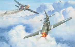 Картинка art, painting, aviation, ww2, dogfight, P 51 Mustang