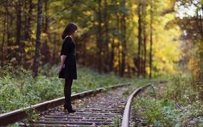Картинка девушка, природа, железная дорога