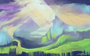 Картинка свет, горы, дом, арт, нарисованный пейзаж, Snowmarite