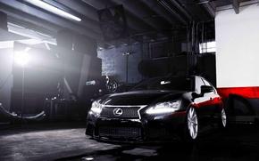 Картинка Lexus, wheels, black, vossen, frontside, GS 350