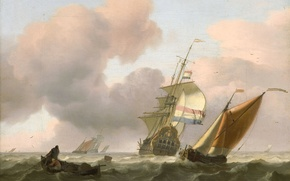 Картинка картина, морской пейзаж, Людольф Бакхёйзен, Бурное Море с Кораблями