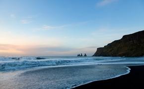 Обои пляж, песок, океан, вода, волны, пена