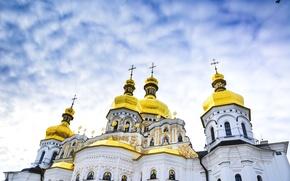 Картинка небо, церковь, Украина, религия, купола, Киев, Печерская Лавра, Успенский собор