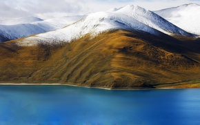 Обои небо, облака, горы, снег, озеро