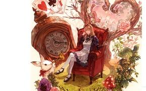 Картинка карты, кот, листья, часы, кресло, мухомор, кролик, труба, белый фон, фартук, alice in wonderland, маргаритки
